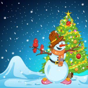 Muneco de nieve feliz navidad